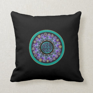 Celtic Mandala with Multicultural Symbols Throw Pillow