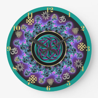 Celtic Mandala with Mystical Symbols Large Clock