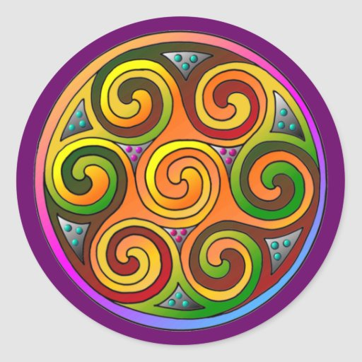 Celtic Markings Classic Round Sticker