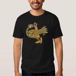 Celtic Medieval Golden Peacock, Basic Dark T-Shirt