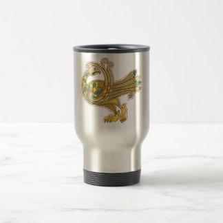 Celtic Medieval Golden Peacock Travel/Commuter Mug