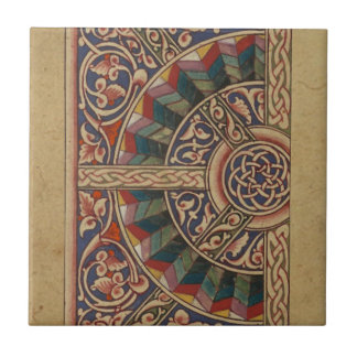 Celtic Medieval Half Circle Design Ceramic Tile