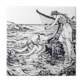 Celtic Mermaid Fairy Tale Illustration Ceramic Tile