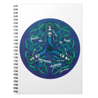 Celtic Mermaid Mandala in Blue and Green Notebook