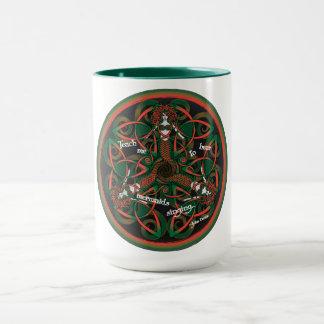 Celtic Mermaid Mandala in Orange and Green Mug