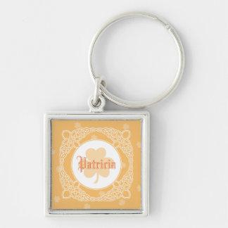 Celtic Mist Square Name Keychain - Peach