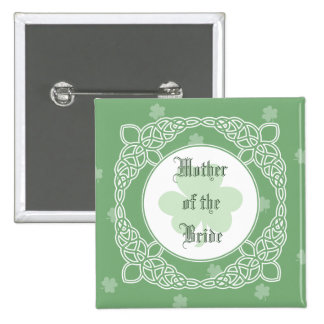 Celtic Mist Wedding Party Buttons - Green