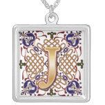 Celtic Monogram Letter J Silver Plated Necklace