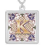 Celtic Monogram Letter K Silver Plated Necklace