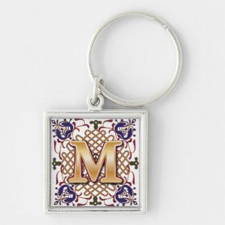 Celtic Monogram Letter M Silver-Colored Square Keychain