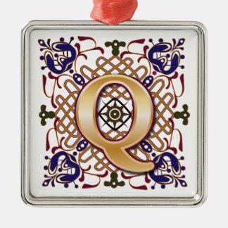 Celtic Monogram Letter Q Metal Ornament