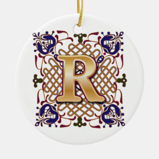 celtic monogram letter r ceramic ornament