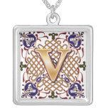 Celtic Monogram Letter V Silver Plated Necklace