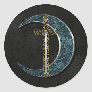 Celtic Moon And Sword Classic Round Sticker
