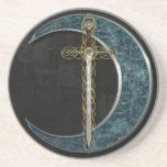 Celtic Moon and Sword Drink Coaster