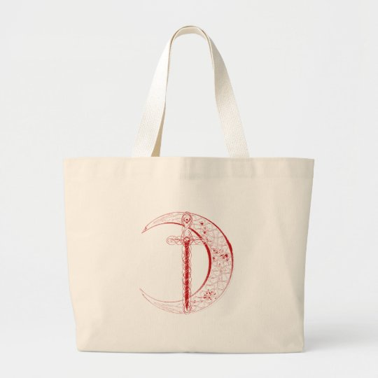 Celtic Moon and Sword (Red) Large Tote Bag