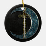 Celtic Moon Ceramic Ornament