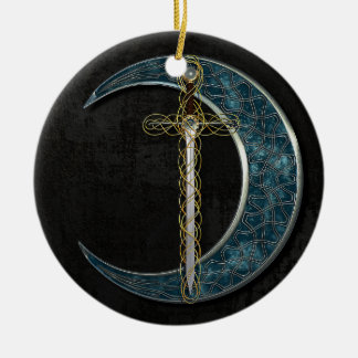 Celtic Moon Ceramic Ornament