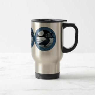 Celtic Moon, Raven and Dolman Design #1 15 Oz Stainless Steel Travel Mug
