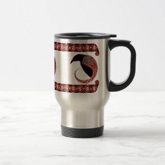 Celtic Mugs, Morrigan Raven Design Travel Mug