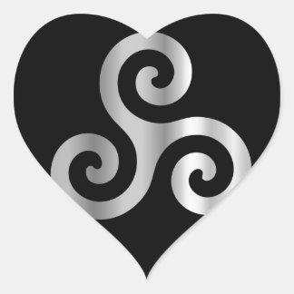 Celtic Neopaganism triple spiral triskelion.jpg Heart Sticker