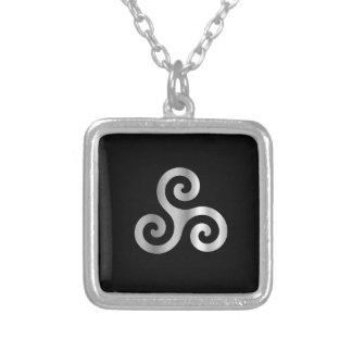 Celtic Neopaganism triple spiral triskelion.jpg Square Pendant Necklace