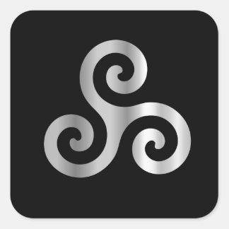Celtic Neopaganism triskelion.jpg espiral triple Pegatina Cuadrada