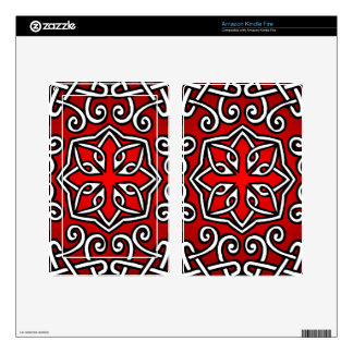 Celtic Pattern in Red (Closeup) Skins For Kindle Fire