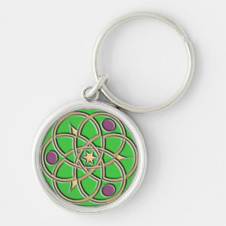 Celtic Pattern Keychain – Green and Gold Round
