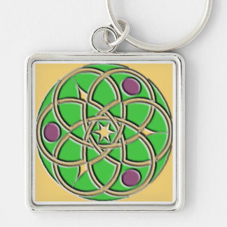 Celtic Pattern Keychain – Green and Gold Square