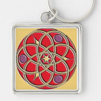Celtic Pattern Keychain – Red and Gold Square