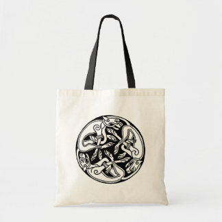 Celtic pattern with dogs - black and white bag