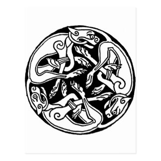 Celtic pattern with dogs - black and white postal