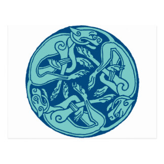 Celtic pattern with dogs - blue tarjetas postales