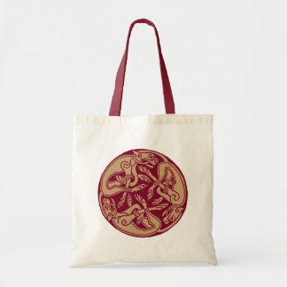 Celtic pattern with dogs - Bordeaux and beige Canvas Bags