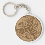 Celtic pattern with dogs - brown basic round button keychain