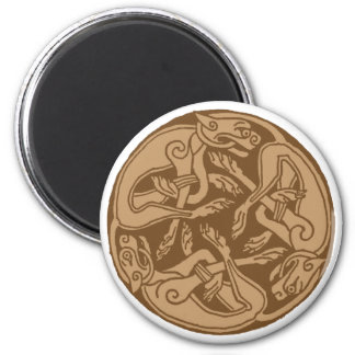 Celtic pattern with dogs - brown magnet