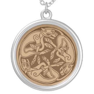 Celtic pattern with dogs - brown round pendant necklace
