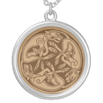 Celtic pattern with dogs - brown silver plated necklace