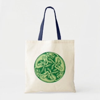 Celtic pattern with dogs - green canvas bags