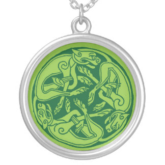 Celtic pattern with dogs - green round pendant necklace