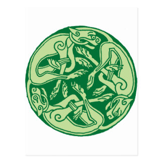 Celtic pattern with dogs - green tarjetas postales