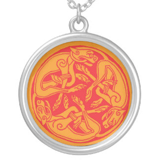 Celtic pattern with dogs - talk and orange round pendant necklace