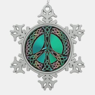 Celtic Peace - Celtic Knot Peace Sign Snowflake Pewter Christmas Ornament