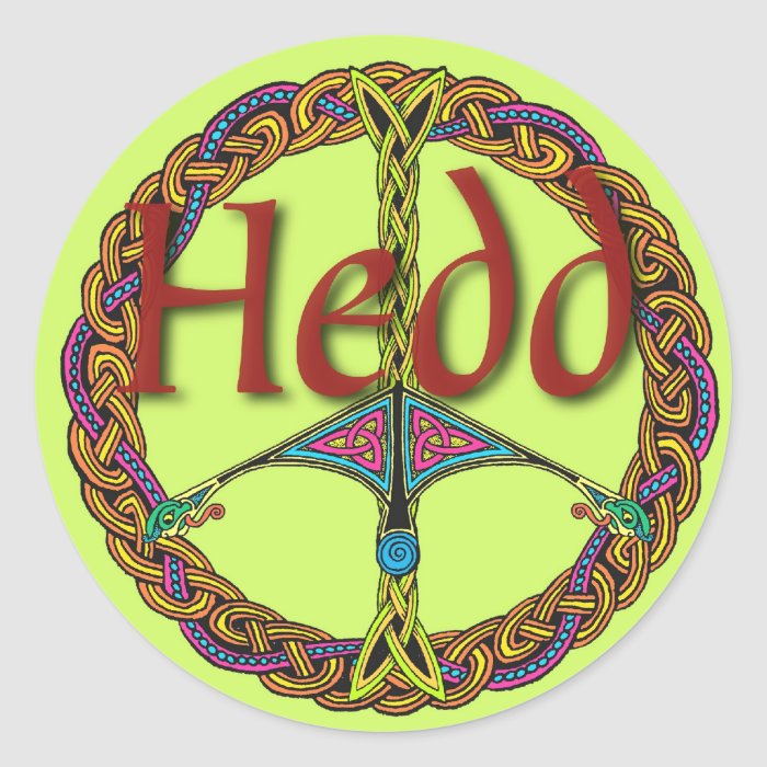 Celtic Peace Sign Sticker in Welsh