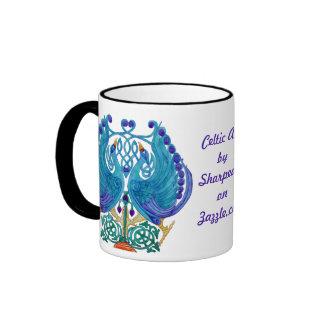 Celtic Peacocks Black Ringer Mug
