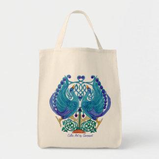 Celtic Peacocks Grocery Bag