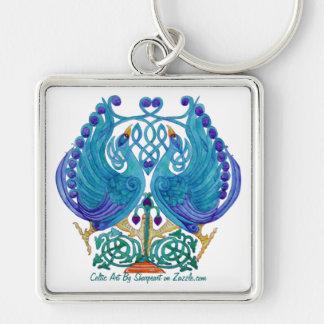 Celtic Peacocks Premium Square Keychain