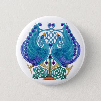 Celtic Peacocks Round Button Badge
