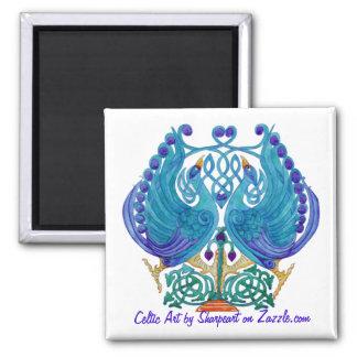 Celtic Peacocks Square Magnet